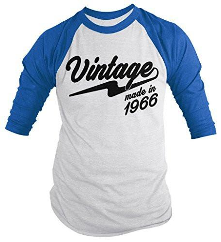 Shirts By Sarah Men's Vintage Made In 1966 50th Birthday Raglan Retro 3/4 Sleeve Shirts-Shirts By Sarah