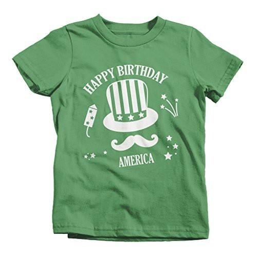 Shirts By Sarah Youth Patriotic 4th July T-shirt Happy Birthday America Hipster-Shirts By Sarah