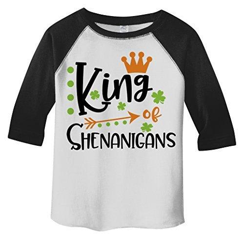 Shirts By Sarah Boy's Toddler King Of Shenanigans Funny T-Shirt ST. Patrick's Day Raglan Tee-Shirts By Sarah