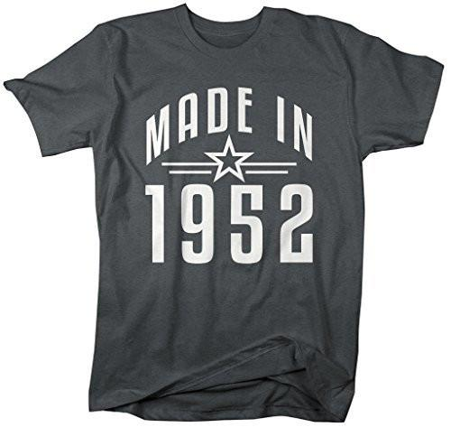 Shirts By Sarah Men's Made In 1952 Birthday T-Shirt Retro Star Custom Shirts-Shirts By Sarah