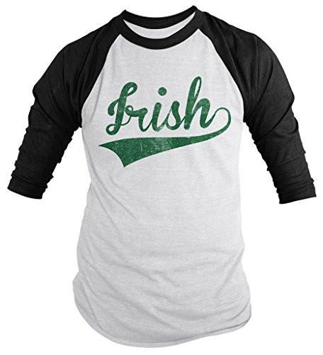Shirts By Sarah Men's Distressed Irish Saint Patrick's Day Shirt 3/4 Sleeve Raglan Shirts-Shirts By Sarah