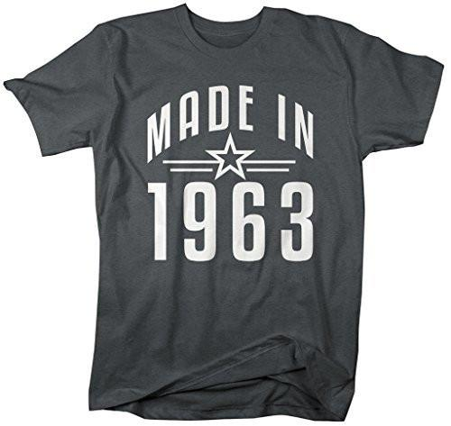 Shirts By Sarah Men's Made In 1963 Birthday T-Shirt Retro Star Custom Shirts-Shirts By Sarah