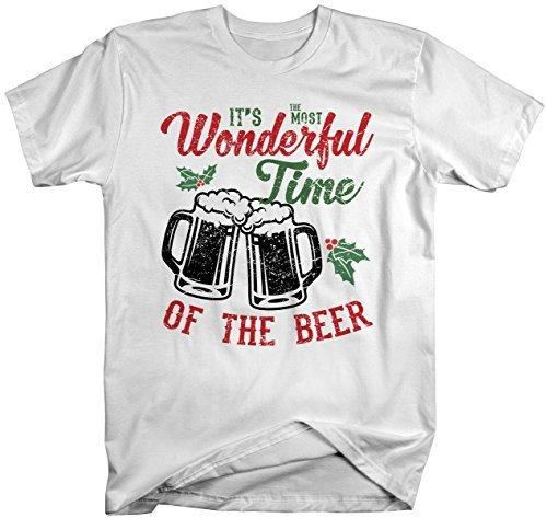 Shirts By Sarah Men's Funny Christmas Beer T-Shirt Wonderful Time Tee-Shirts By Sarah