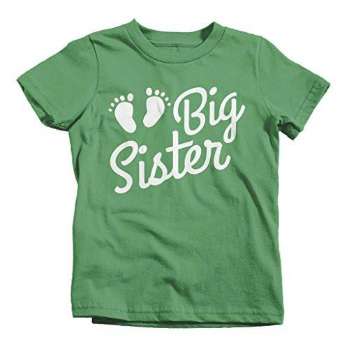 Shirts By Sarah Girl's Big Sister Baby Feet T-Shirt Cute Promoted Shirts-Shirts By Sarah