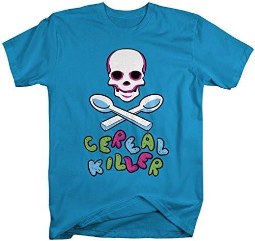 Shirts By Sarah Men's Funny Cereal Killer Shirt Hilarious Skull Shirts-Shirts By Sarah