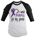 Shirts By Sarah Men's Purple Ribbon Shirt Wear For Friend 3/4 Sleeve Raglan Awareness Shirts - Black/White / XX-Large - 1