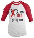 Shirts By Sarah Men's Red Ribbon Shirt Wear For Niece 3/4 Sleeve Raglan Awareness Shirts - Red/White / XX-Large - 1