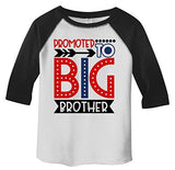 Shirts By Sarah Boy's Toddler Promoted to Big Brother Dotty T-Shirt Cute Shirt Promoted to T-Shirt 3/4 Sleeve Raglan-Shirts By Sarah