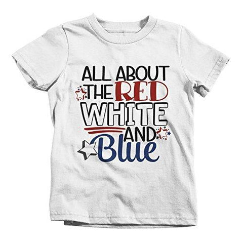 Shirts By Sarah Boy's 4th July All About Red White Blue T-Shirt Toddler Infant Tee Shirts-Shirts By Sarah