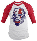 Shirts By Sarah Men's Angry Ape T-Shirt 3/4 Sleeve Shirts - Red/White / XX-Large - 6