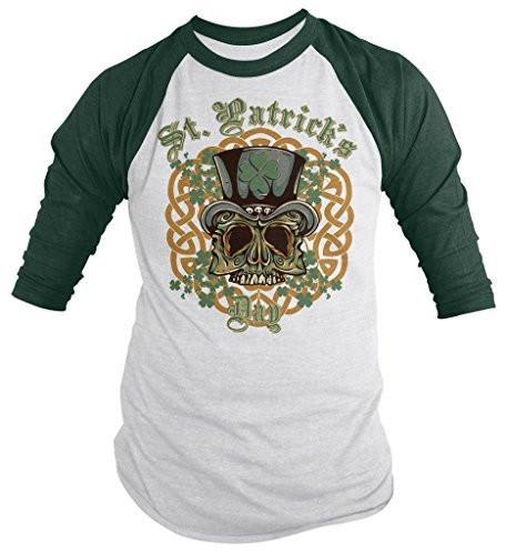 Shirts By Sarah Men's St. Patrick's Day Skull Biker 3/4 Sleeve Raglan Shirt-Shirts By Sarah