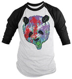 Shirts By Sarah Men's Grunge Panda Shirt 3/4 Sleeve Raglan Angry Panda Bears Shirts-Shirts By Sarah