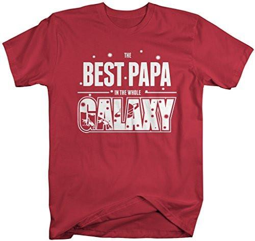 Shirts By Sarah Men's Funny Best Papa In Galaxy Shirt Father's Day Tees Space-Shirts By Sarah