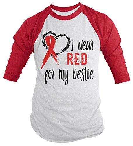 Shirts By Sarah Men's Red Ribbon Shirt Wear For Bestie 3/4 Sleeve Raglan Awareness Shirts-Shirts By Sarah