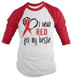 Shirts By Sarah Men's Red Ribbon Shirt Wear For Bestie 3/4 Sleeve Raglan Awareness Shirts - Red/White / XX-Large - 1