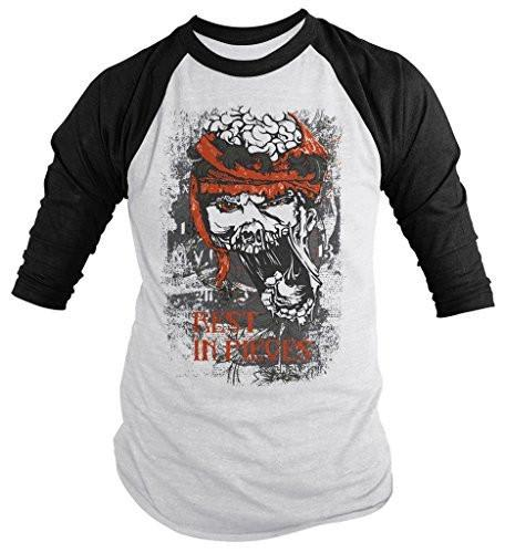 Shirts By Sarah Men's Halloween Zombie Shirt Rest In Pieces 3/4 Sleeve Raglan Shirts-Shirts By Sarah
