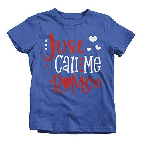 Shirts By Sarah Boy's Just Call Me Romeo Funny Valentines Day T-Shirt Toddler Tee-Shirts By Sarah