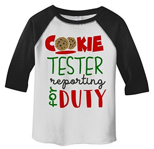 Shirts By Sarah Toddler Cookie Tester Duty Shirt 3/4 Sleeve Raglan T-Shirt-Shirts By Sarah