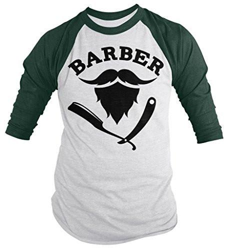Shirts By Sarah Men's Barber 3/4 Sleeve Shirt Hair Stylist Mustache Beard Raglan-Shirts By Sarah