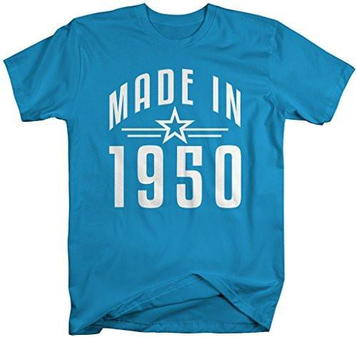 Shirts By Sarah Men's Made In 1950 Birthday T-Shirt Retro Star Custom Shirts-Shirts By Sarah