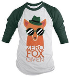 Shirts By Sarah Men's Funny Zero Fox Given 3/4 Sleeve Raglan Hipster Shirt - Forest/White / XX-Large - 1