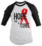 Shirts By Sarah Men's Red Ribbon Shirt Hope For Cure 3/4 Sleeve Raglan Shirts - Black/White / XX-Large - 1