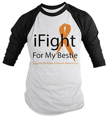Shirts By Sarah Men's Multiple Sclerosis Awareness Shirt 3/4 Sleeve iFight For Bestie Ribbon Orange Ribbon - Black/White / XX-Large