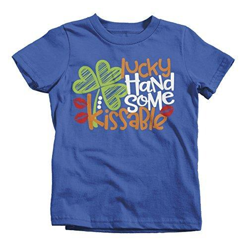 Shirts By Sarah Youth Boy's Lucky Handsome Kissable T-Shirt ST. Patrick's Day Tee-Shirts By Sarah