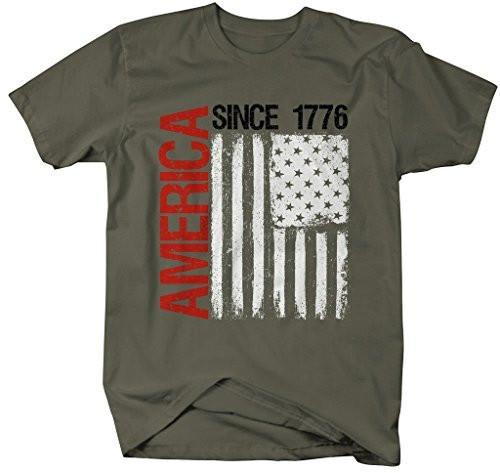 Shirts By Sarah Men's Patriotic America Since 1776 Distressed Flag 4th July Shirt-Shirts By Sarah