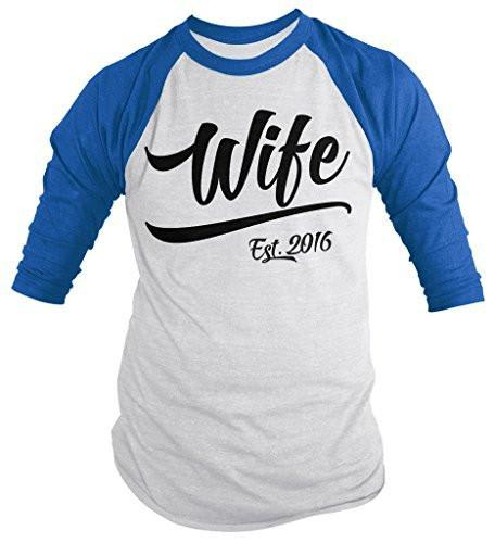 Shirts By Sarah Women's Wife Est. 2016 Shirt Wedding Anniversary 3/4 Sleeve Raglan Shirts-Shirts By Sarah