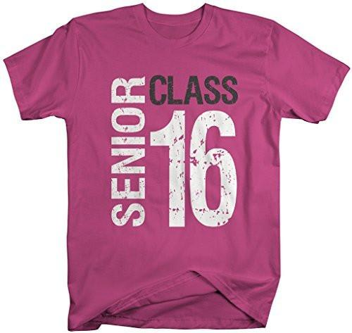 Shirts By Sarah Men's Senior Class T-Shirt 16 Shirts Seniors 2016 Distressed Tee-Shirts By Sarah