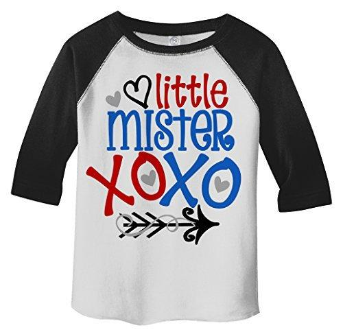 Shirts By Sarah Boy's Toddler Little Mister Mr. XOXO Funny Valentines Day 3/4 Sleeve T-Shirt-Shirts By Sarah