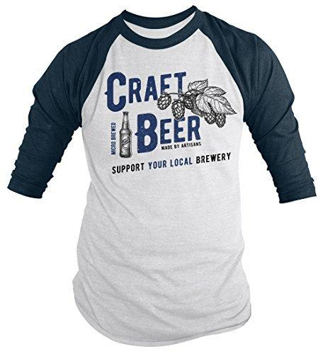Shirts By Sarah Men's Men's Craft Beer Support Local Brewery Tees Brew Master Raglan T-Shirt-Shirts By Sarah