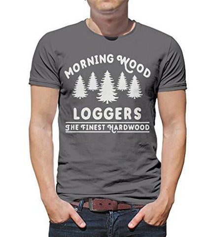 Shirts By Sarah Men's Funny Lumberjack T-Shirt Morning Wood Loggers Ring Spun Cotton-Shirts By Sarah