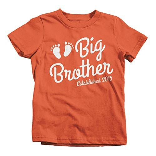 Shirts By Sarah Boy's Big Brother Shirt Established 2015 Baby Feet T-Shirt Cute Promoted-Shirts By Sarah