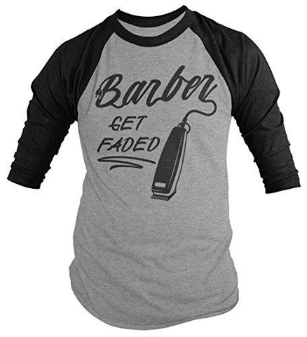 Men's Barber T-Shirt Get Faded Vintage Tee Clippers Barbers 3/4 Sleeve Raglan-Shirts By Sarah