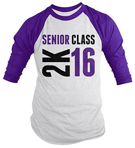 Shirts By Sarah Men's Senior Class 2K 16 2016 Seniors 3/4 Sleeve Raglan Shirt-Shirts By Sarah