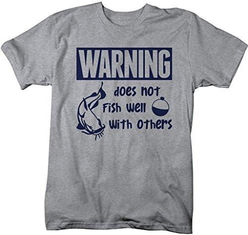 Shirts By Sarah Men's Funny Fishing T-Shirt Warning Does Not Fish Well With Others-Shirts By Sarah