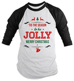Shirts By Sarah Men's Christmas Shirt Tis The Season Jolly 3/4 Sleeve Raglan Shirts-Shirts By Sarah