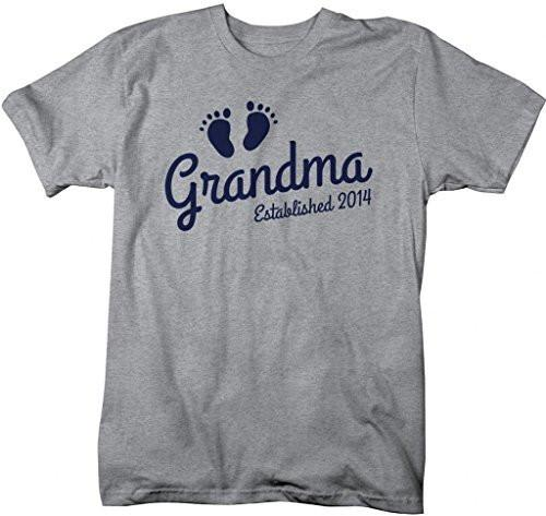 Shirts By Sarah Women's Grandma Established 2014 Unisex T-Shirt Baby Feet Cute Shirts-Shirts By Sarah