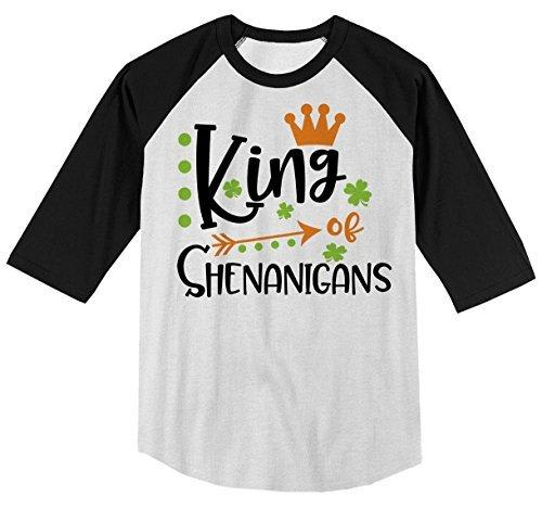Shirts By Sarah Boy's King Of Shenanigans Funny T-Shirt ST. Patrick's Day Raglan Tee-Shirts By Sarah