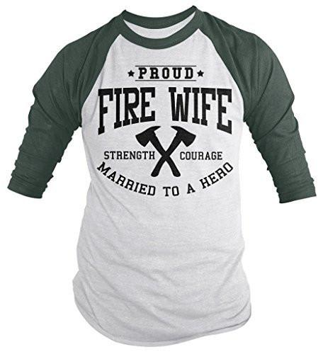 Shirts By Sarah Women's Fire Wife Shirt Unisex Firefighter Wives 3/4 Sleeve Raglan Shirts-Shirts By Sarah