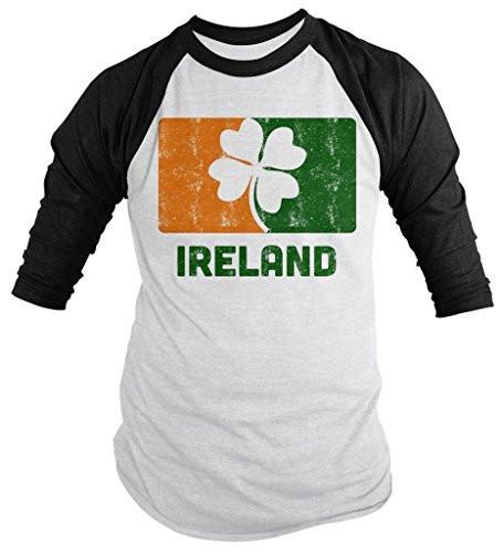 Shirts By Sarah Men's Ireland 3/4 Sleeve Raglan St. Patrick's Day Distressed Shirt-Shirts By Sarah