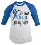Shirts By Sarah Men's Blue Ribbon Shirt Wear For Sister 3/4 Sleeve Raglan Awareness Shirts - Royal/White / XX-Large - 2