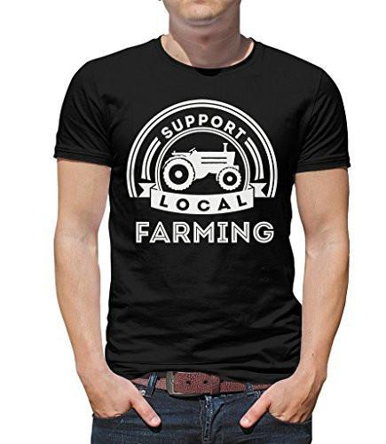 Shirts By Sarah Men's Support Local Farming T-Shirt Tractor Ring Spun Cotton-Shirts By Sarah