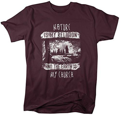 Shirts By Sarah Men's Hipster Shirt Nature Is My Religion And Earth My Church T-Shirt-Shirts By Sarah