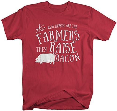 Shirts By Sarah Men's Hilarious Bacon T-Shirt Funny Farmers Real Heroes Tee-Shirts By Sarah