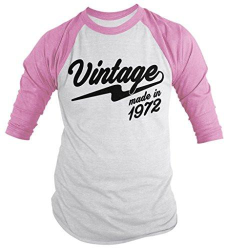 Shirts By Sarah Men's Vintage Made In 1972 Birthday Raglan Retro 3/4 Sleeve Shirts-Shirts By Sarah