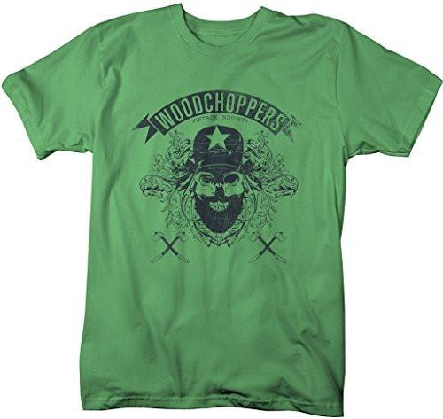 Shirts By Sarah Men's Grunge Urban Lumberjack T-Shirt Woodchoppers Skull-Shirts By Sarah