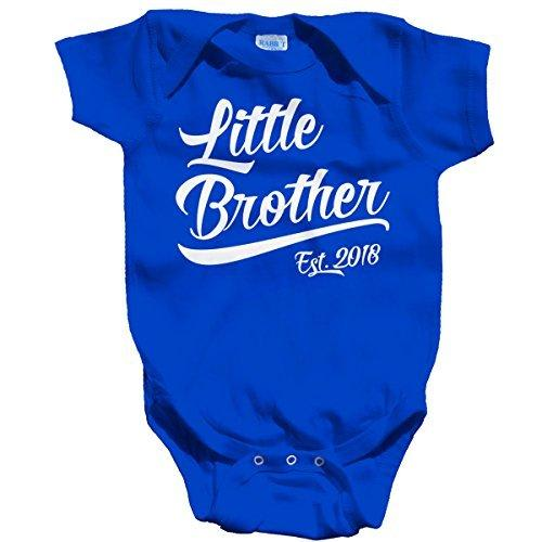 Shirts By Sarah Baby Boy's Little Brother EST. 2018 One Piece Bodysuit-Shirts By Sarah